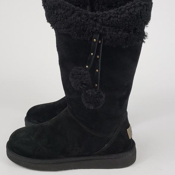 69a6d0df10f NEW!! UGG Black Plumdale Cuff Pom Pom Boots NWT